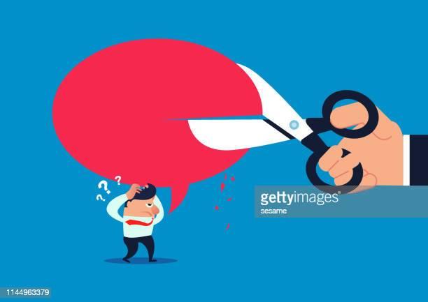 stockillustraties, clipart, cartoons en iconen met shut up, de woorden gesproken door de zakenman worden afgesneden door een schaar - demonstrant