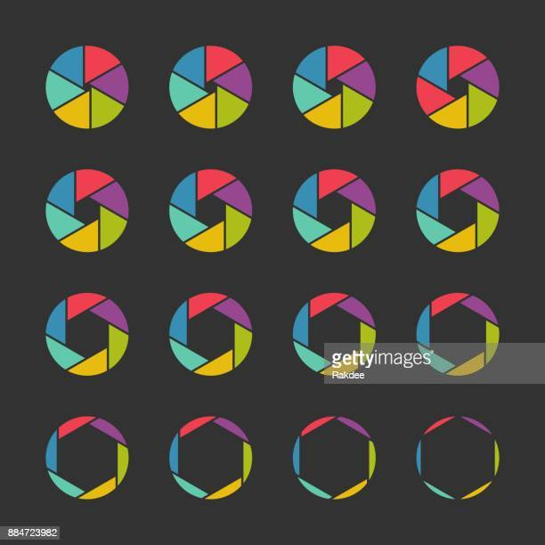 shutter icons - color series - aperture stock illustrations, clip art, cartoons, & icons