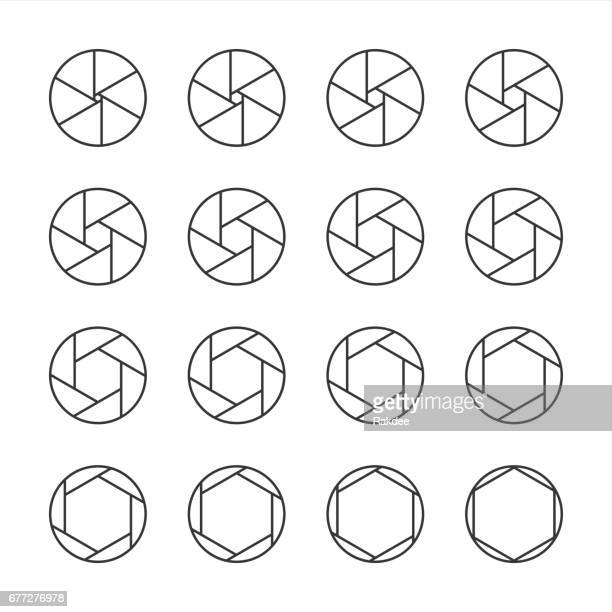 shutter icons - line series - aperture stock illustrations, clip art, cartoons, & icons