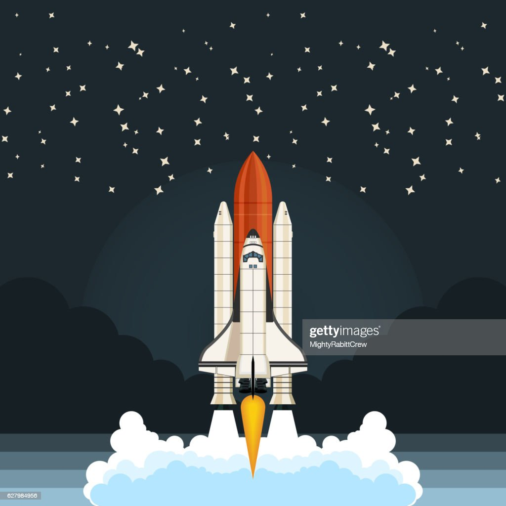 Shuttle Launch. Spaceship and space background. Projects template for business