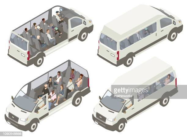 shuttle van cutaways illustration - cutaway drawing stock illustrations