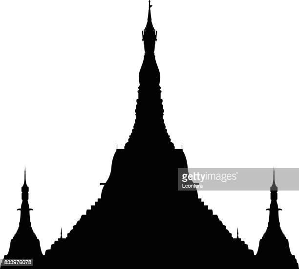 shwedagon paya, yangon, myanmar - pagoda stock illustrations, clip art, cartoons, & icons