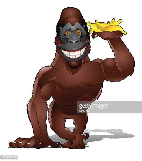 Shy Gorilla with bananas