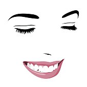 Shy timid girl smiling with closed eyes. Abstract pop up style clip art.