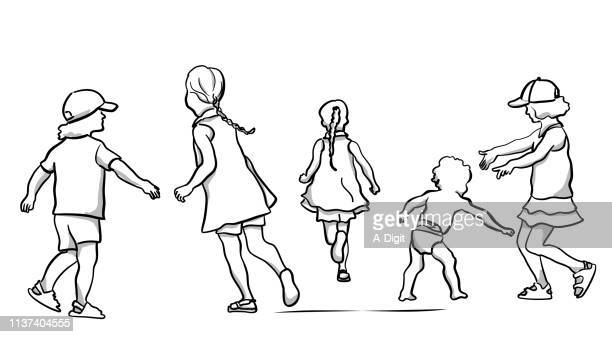 sibblings playing - child care stock illustrations