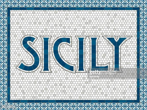sicily old fashioned mosaic tile typography - ceramics stock illustrations, clip art, cartoons, & icons