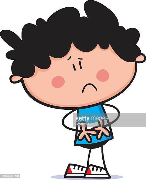sick boy - stomach pain stock illustrations, clip art, cartoons, & icons