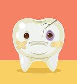 Sick broken tooth character. Vector flat cartoon illustration