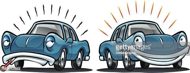 sick car, healthy vehicle - sick stock illustrations, clip art, cartoons, & icons