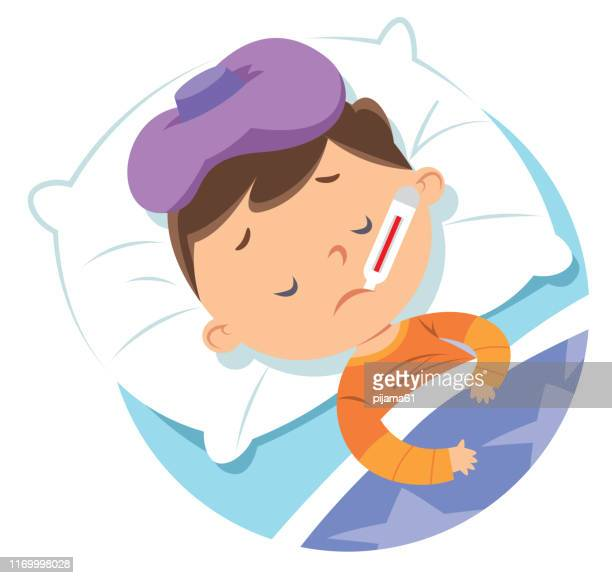 sick child in bed - fever stock illustrations