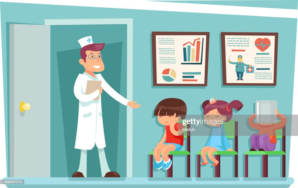 Sick children at doctor sitting on chairs cartoon characters vector