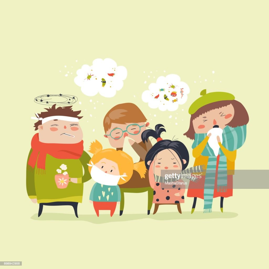 Sick children with fever, illness