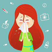 Sick girl. Allergy kid sneezing. Vector cartoon illustration. ill child with flu or virus. Health care concept. Runing noise symptom. infographic poster. Season allergy