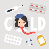 Sick girl with the symptoms of a cold and flu. Health care concept. Vector flat illustrated sign