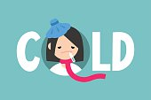 Sick girl with the symptoms of a cold and flu