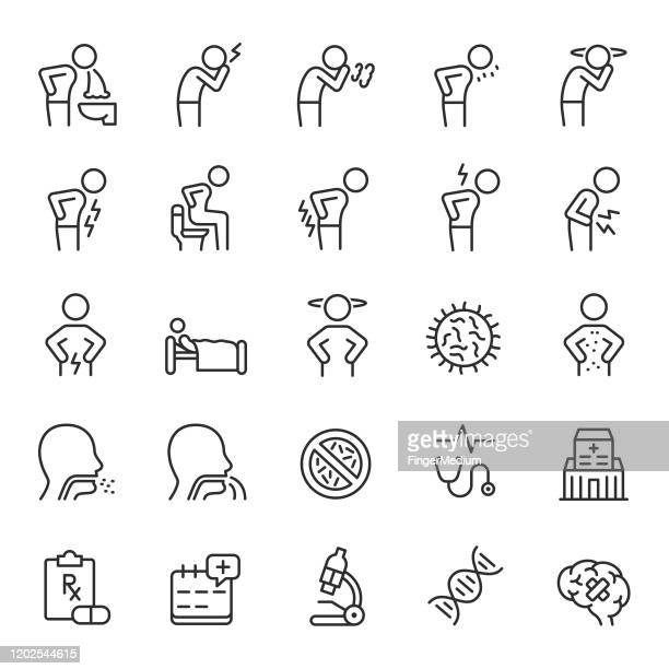 ilustraciones, imágenes clip art, dibujos animados e iconos de stock de iconos enfermos - dolor de cabeza
