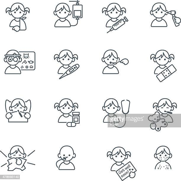 sick kids medical icons in thin lines - sneezing stock illustrations, clip art, cartoons, & icons