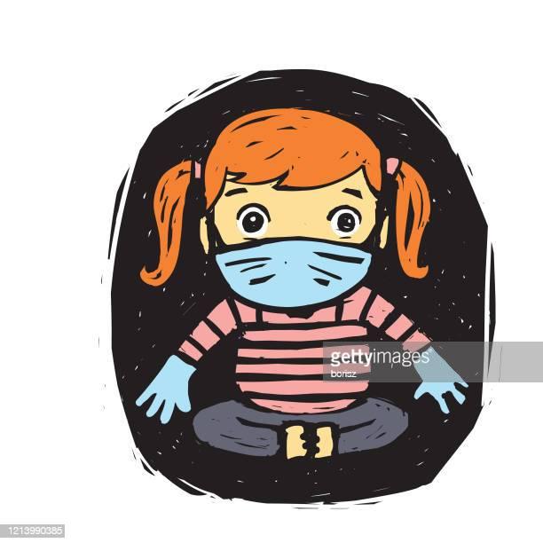 sick kids with masks - scuba mask stock illustrations