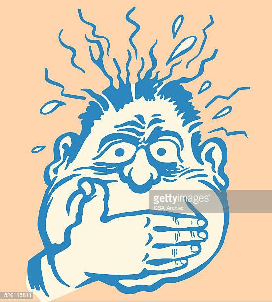 sick man covering his mouth - vomit stock illustrations