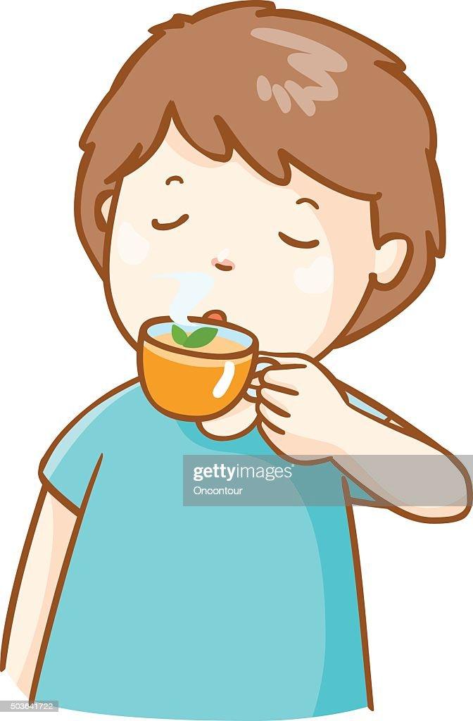 sick man drinking herbal tea vector illustration