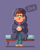 Sick man. Unhappy character. Vector cartoon illustration