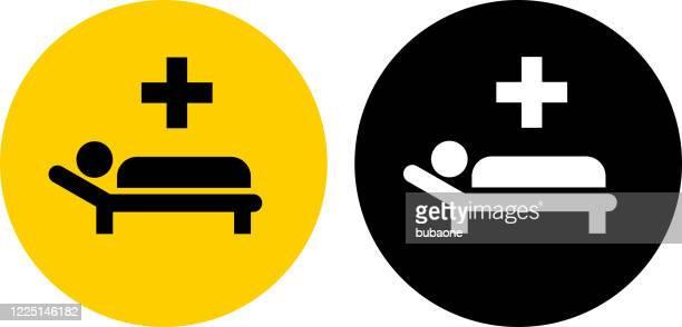 ilustrações de stock, clip art, desenhos animados e ícones de sick man with medical cross icon - cama