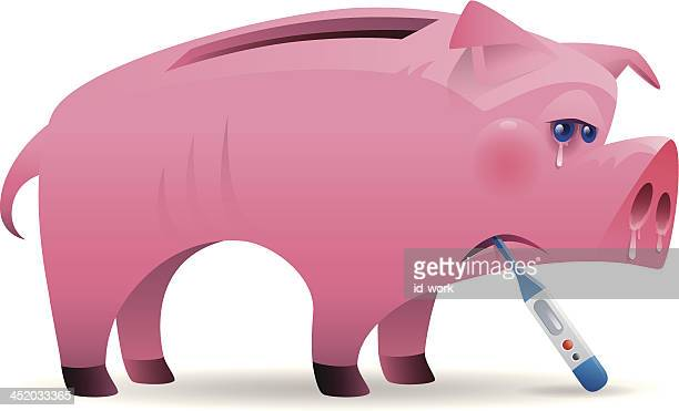 sick piggy bank - sick stock illustrations, clip art, cartoons, & icons