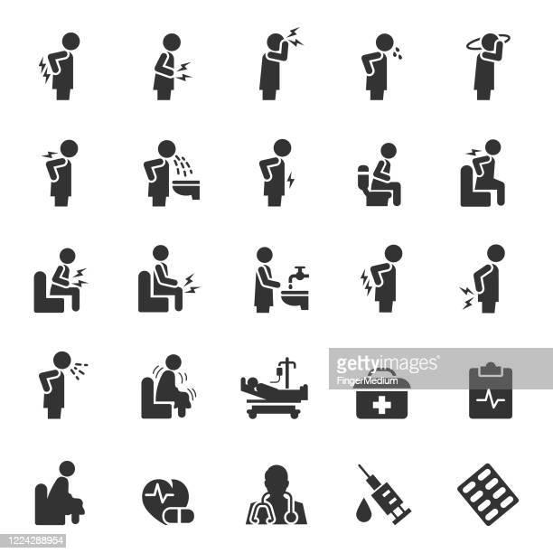 illustrations, cliparts, dessins animés et icônes de ensemble d'icônes de vecteur malade - mal de dos