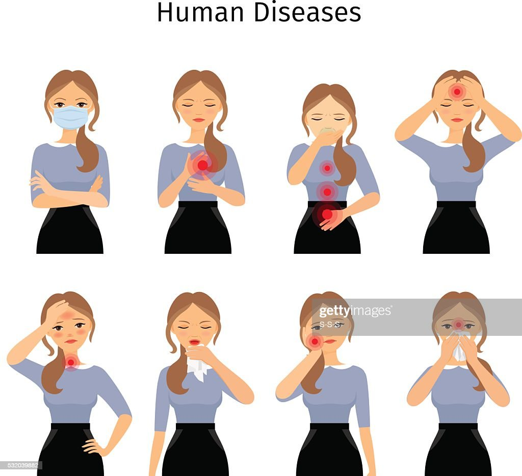 Sick woman icons