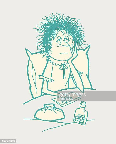 sick woman in bed - sick person stock illustrations, clip art, cartoons, & icons