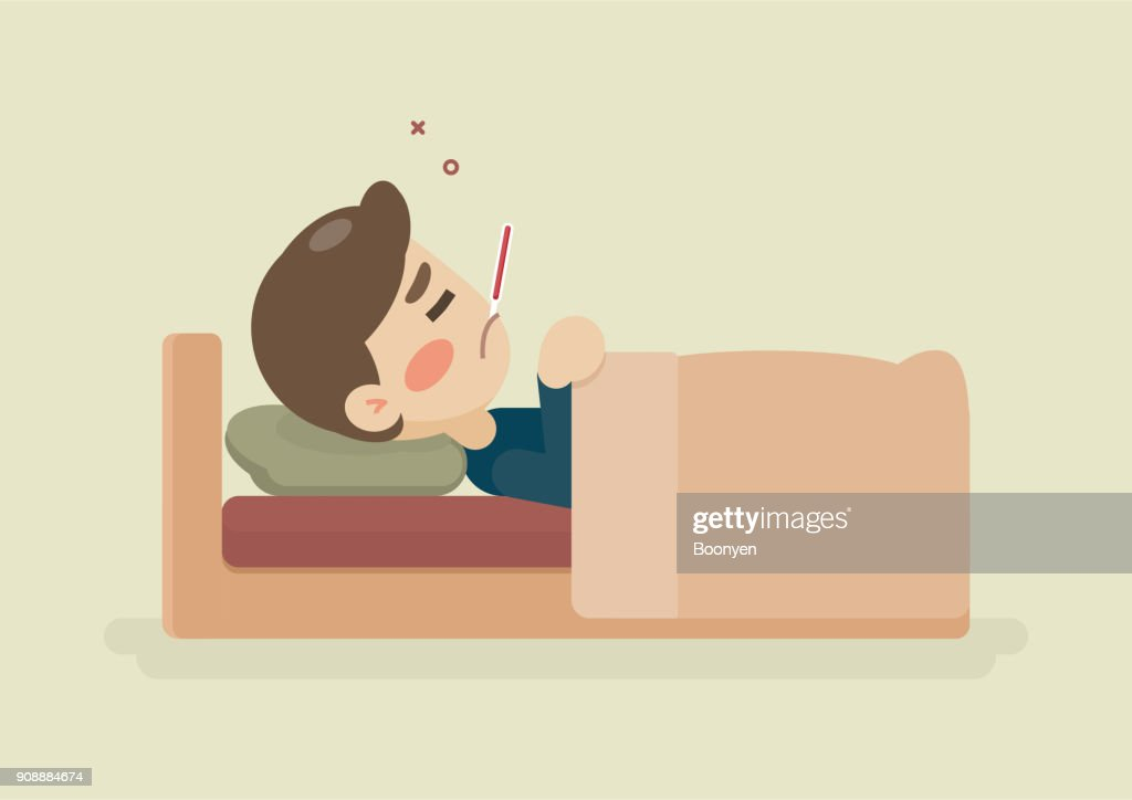 Sick young man lying in bed with a thermometer in mouth, having a cold, vector cartoon illustration.