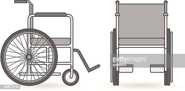 a side and rear view of a wheelchair - wheelchair stock illustrations, clip art, cartoons, & icons