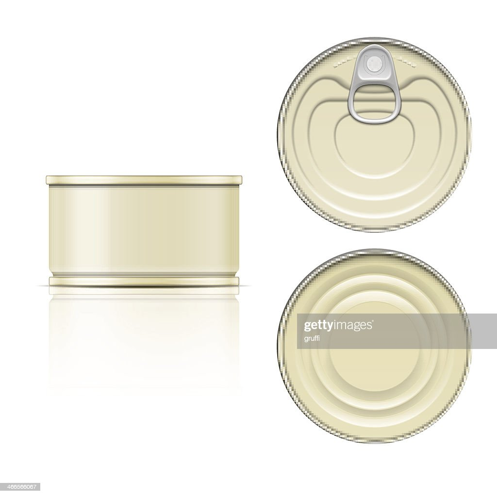 Side, top and bottom view of tin can with a pull ring