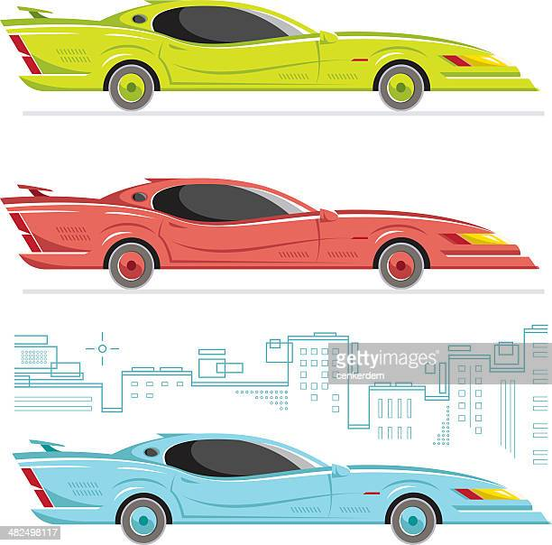 side view american - street racing stock illustrations, clip art, cartoons, & icons