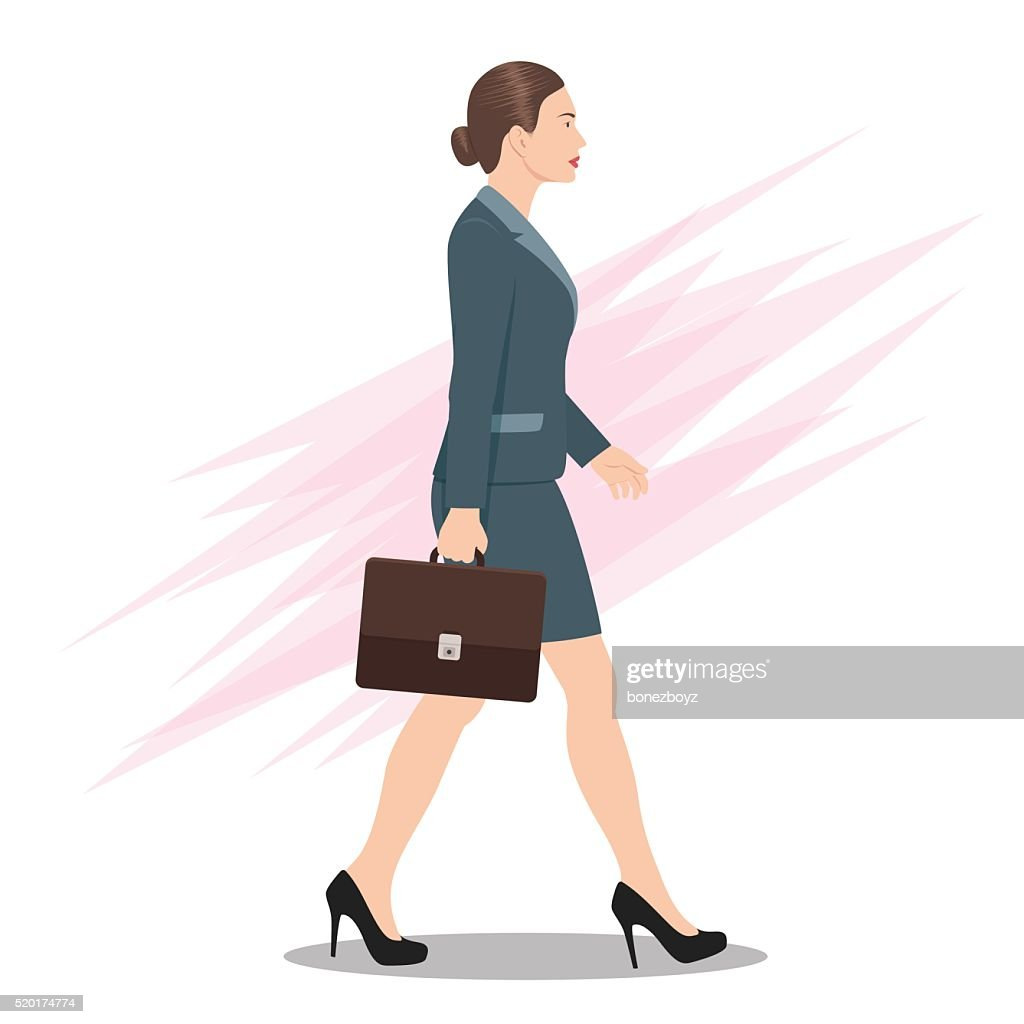 Side View of a Business Woman Walking Forward