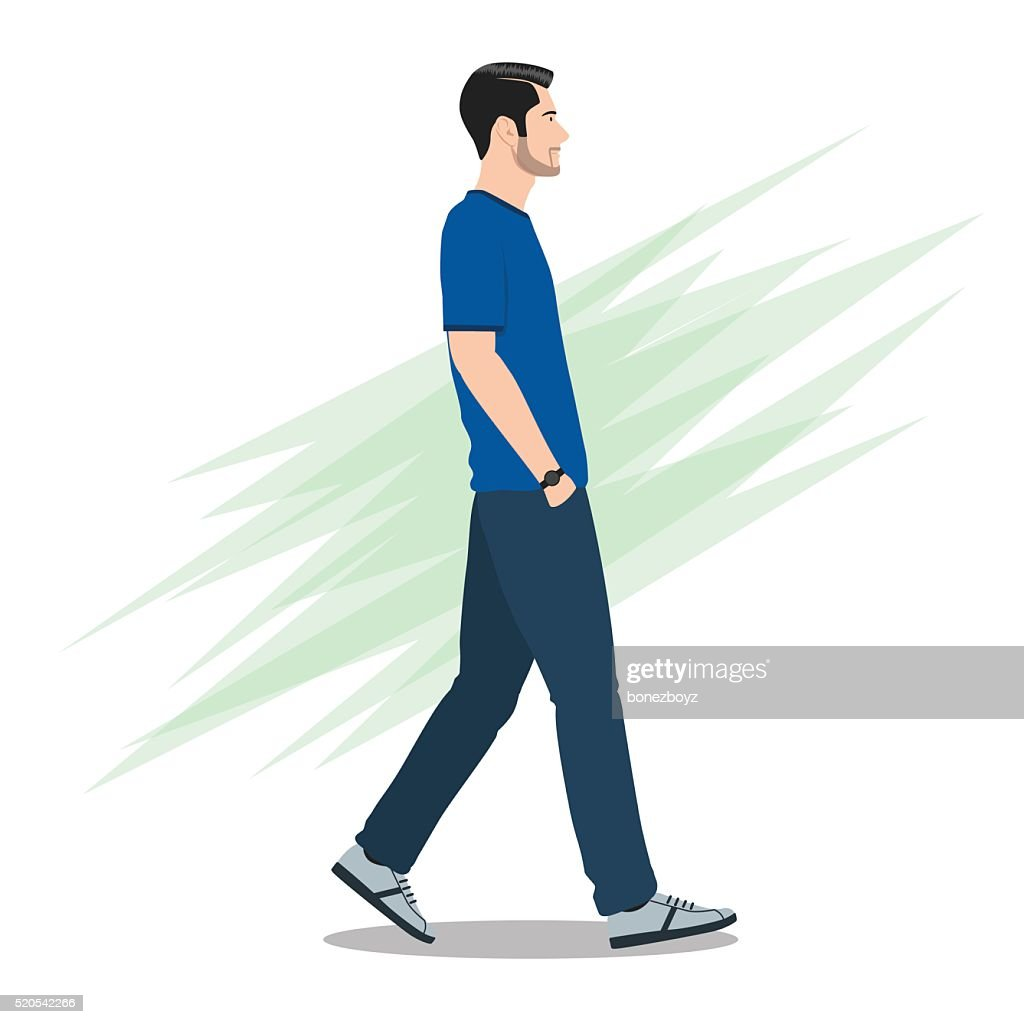 Side View of a Man Walking Forward