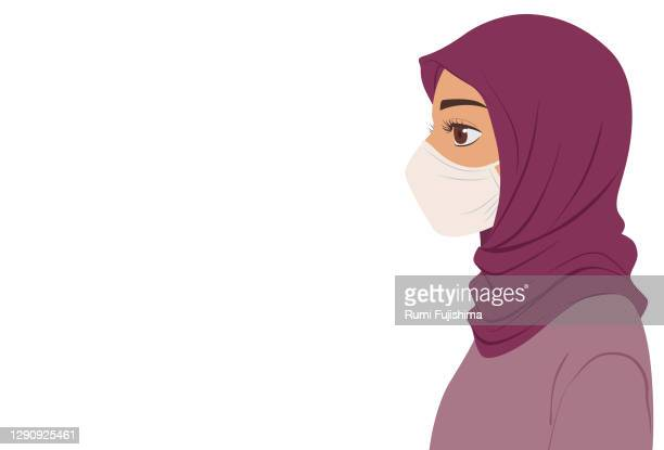 side view of a woman wearing mask - avoidance stock illustrations