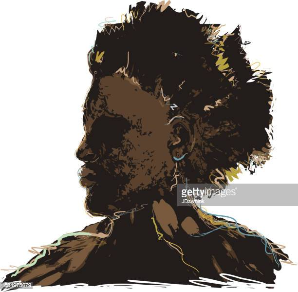 Side view of African american man