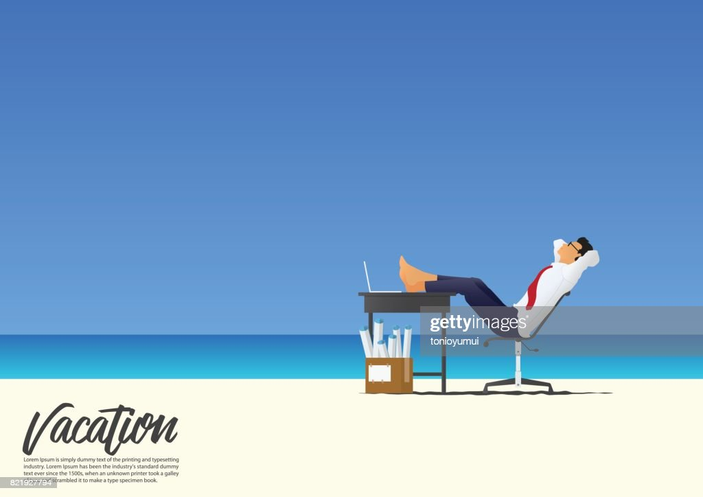 Side view of businessman relaxing with feet up on office desk on white sand beach while on his vacation. Blue gradient sky background  with copy space for your text. Vector.