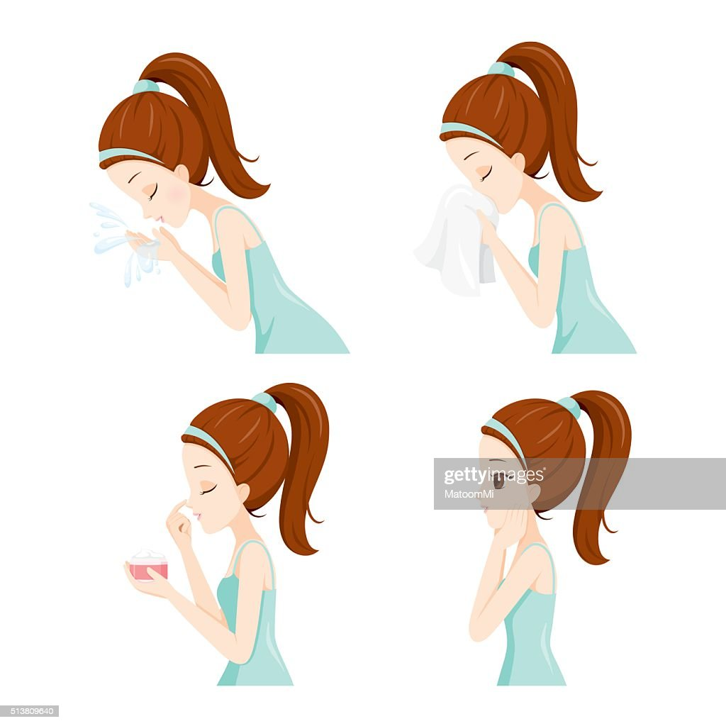 Side View Of Girl Cleaning And Care Her Face Set