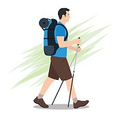 Side View of Hiker with Backpack Walking