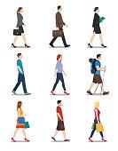Side View of Men and Women Walking
