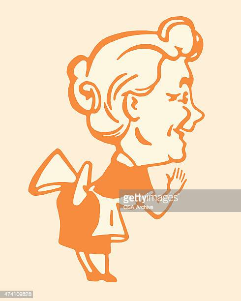 side view of senior woman - maid stock illustrations, clip art, cartoons, & icons