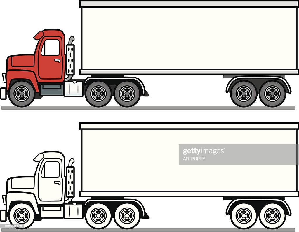 Side View Of Transport Truck Vector Art