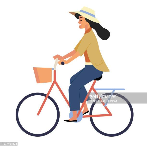 side view of woman with hat riding a retro bicycle - road marking stock illustrations