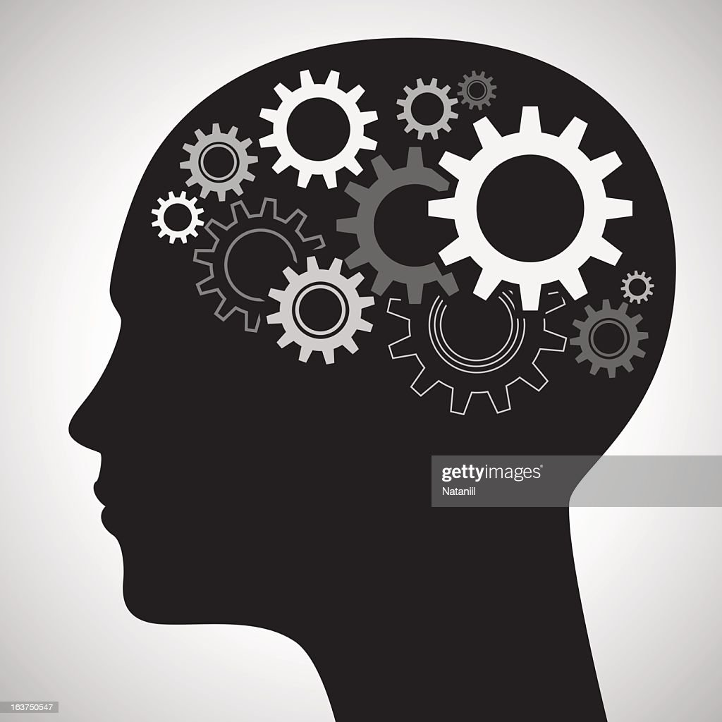 side view silhouette of a human head with cog wheels inside vector
