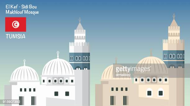 sidi bou makhlouf mosque - architectural dome stock illustrations, clip art, cartoons, & icons