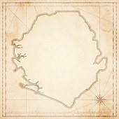 Sierra Leone map in retro vintage style - old textured paper