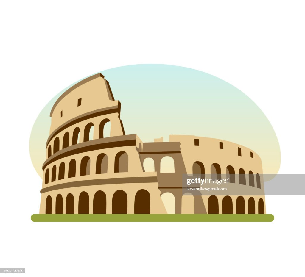 Sights different countries. Monument of Ancient Rome, building is Colosseum