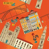 Sights of Porto. Portugal, Europe. Seamless background pattern.